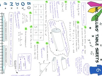 Mr. Collins' Maths Table Sheets - Collins City 6