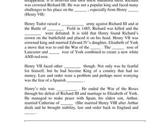 War of the roses cloze activity - Tudors