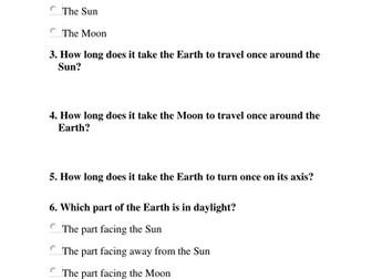 Earth, Sun and Moon quiz