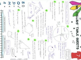 Mr. Collins' Maths Sheets - Revision aid