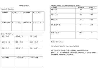 Maths worksheet: Number Operations Using BIDMAS by JANPERR ...