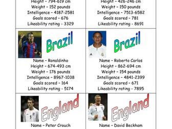 Football top trumps - maths subtraction