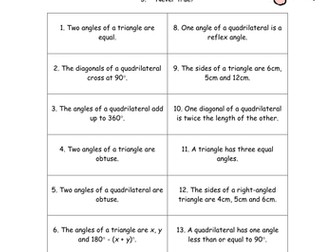 Triangles and Quadrilaterals - KS3 Activity