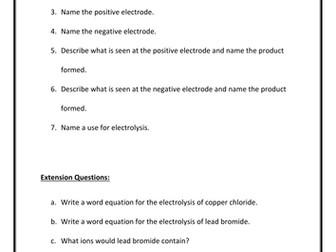Electrolysis Question Sheet