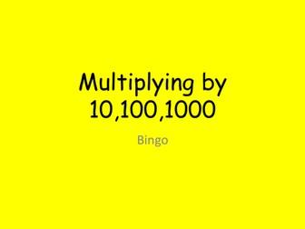 Maths KS2 KS3: Bingo Multiplying by 10,100,1000.