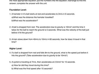 Equations of Motion (SUVAT) OCR gateway P5b