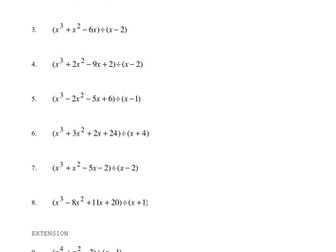 Dividing Polynomials Worksheet by phildb - Teaching Resources - Tes