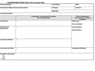 EYFS Lesson plan template