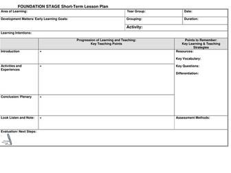 EYFS Lesson plan template