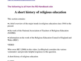 Religious Education Pedagogy and the history of RE