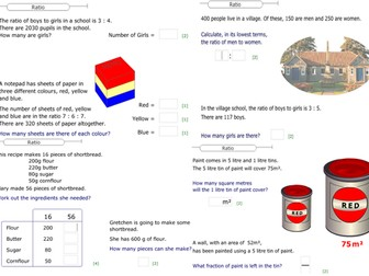 Maths - Ratio Worksheets