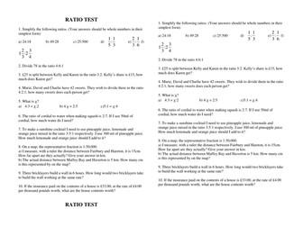 Test Worksheet on Ratio