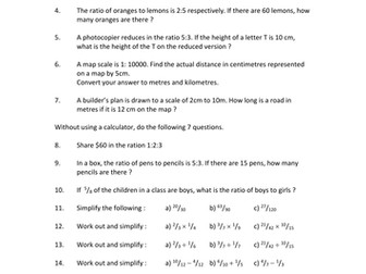 Mathematics Homework Sheet on Ratio and Fractions