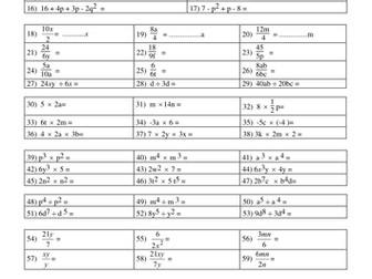 Maths - Year 12 Algebra Worksheet