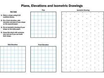 KS3 Maths Isometric and Elevations Worksheet