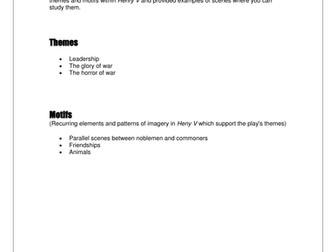 Henry V RSC Themes Reference
