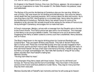 Henry V Schools' Synopsis