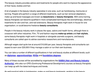 Working in the beauty industry