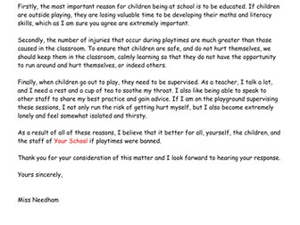 Draft letter of persuasion to ban playtimes by missn teaching draft letter of persuasion to ban playtimes by missn teaching resources tes spiritdancerdesigns Images