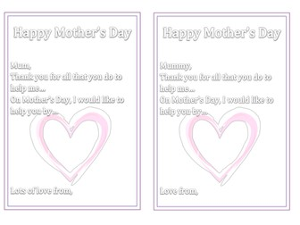 Mother's Day Card Inserts