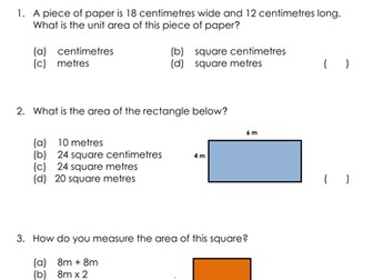 KS2 (7-11 year olds) Quiz (Area and Perimeter)
