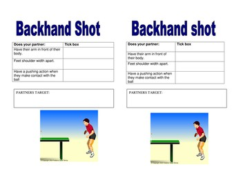 Backhand shot in table tennis