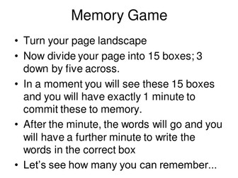Brain Gym; Memory Game