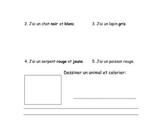 Pets colouring in worksheet in French