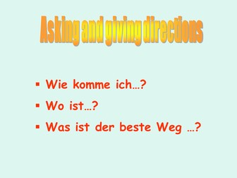 Asking & Giving directions in German