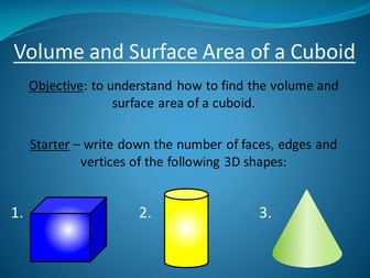 Volume and Surface Area of a Cuboid
