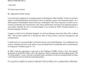 Cover letter for ESL teacher