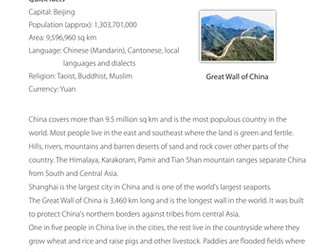 Facts about China - Comprehension
