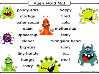 Alien themed A4 word mat