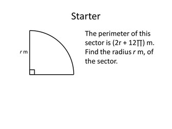 Lengths of Arcs and Area of Sectors