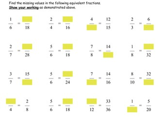 Equivalent Fractions by deechadwick | Teaching Resources