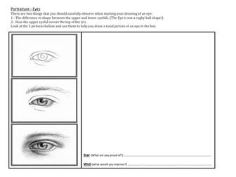 Facial features drawing - homework sheets