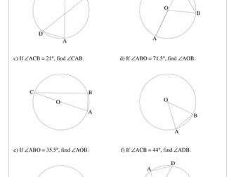 Circle Theorems practice questions + solutions