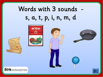Spelling words with 3 Sounds - Phase 2, set 1