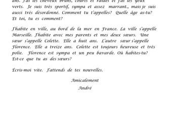 KS2 French - Letter to answer