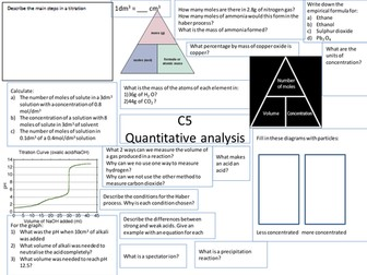 Revision prompt sheets for OCR chemistry C4 C5 C6