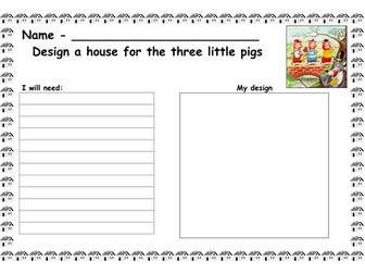 The 3 little pigs design a house - planning sheet