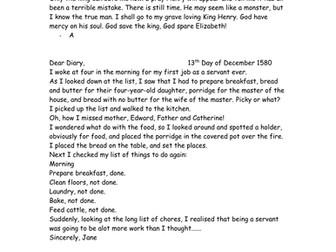 Tudor Diary Writing