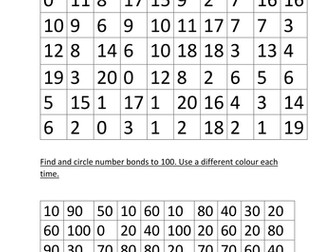 Work sheets: Number Bonds to 10, 20 and 100 by rosabellaangelica ...