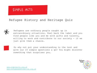 The all new Refugee Week & Simple Acts Quiz!