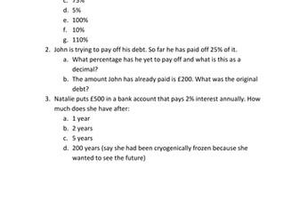 Mixed Percentage Questions