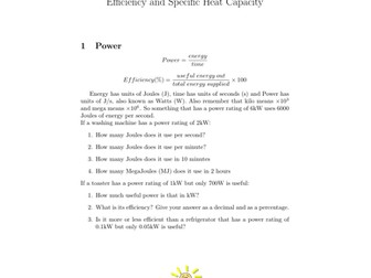Efficiency and Specific Heat Capacity