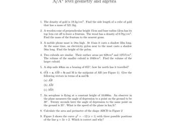 A/A* level geometry and algebra