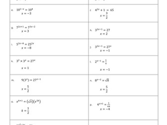 C1 Indices Exponential Equations By Mrsmorgan1 Teaching
