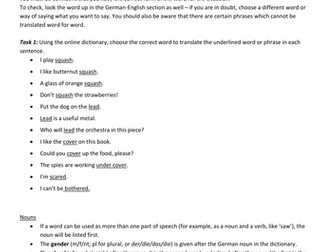 Online dictionary skills - German