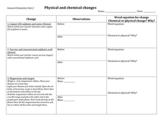 Physical and chemical changes practical